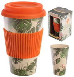 A greenery plant printed Bamboo Travel Mug complete with an added orange grip and matching screw top lid
