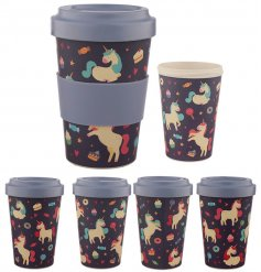 A Magical Unicorn printed Bamboo Travel Mug complete with an added purple grip and matching screw top lid