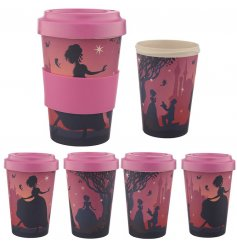 A Magical Princess printed Bamboo Travel Mug complete with an added pink grip and matching screw top lid