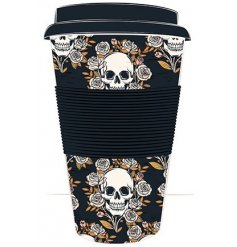 This Macabre inspired Printed Travel Mug is a perfect gift idea for anyone