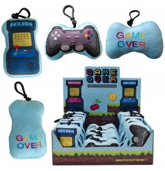 An assortment of plush key rings in retro gaming designs. Each has sound. A great gift item!
