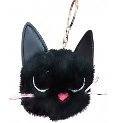 Bring a sassy touch to your key sets or bag with this fuzzy black pompom keyring