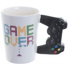 A quirky arcade game printed Bone China Mug complete with an added controller shaped handle