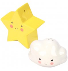 A super cute set of salt and pepper shakers in a cloud and star shape!