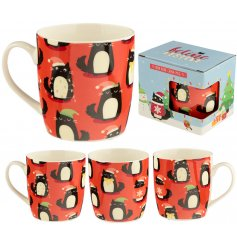 A fun and festive themed Bone China Mug decorated with cute cats dressed in Christmas attire