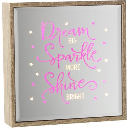 Dream, Sparkle, Shine Light Up Mirror 16cm