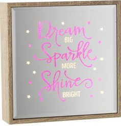 A glamorous wooden framed mirror with a pink sparkle and light up sign