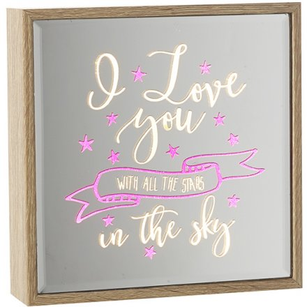 Stars in Sky Light Up Mirror Sign 16cm