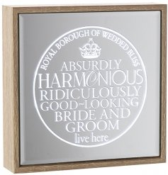 A chic and stylish mirror sign with a lovely light up sentiment for the bride and groom.