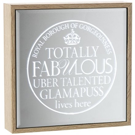 Glamapuss Light Up Mirror Sign 16cm