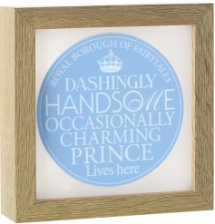 A stylish and unique light up box frame with a blue slogan stamp. A gorgeous gift item for a little prince