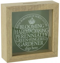 A fantastic wooden money box with a glass front, featuring a fun green fingered slogan.