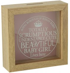 An attractive wooden money box with a glass front. A lovely gift item for baby girls and a charming keepsake.