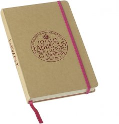 Make fabulous plans with this gamapuss notebook with pink ribbon bookmark and elastic.