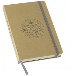 A fine quality, hardback craft notebook with a teenager stamp, silver bookmark and elastic wrap.