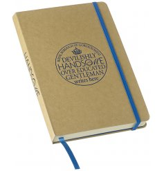 A fine quality craft paper notebook with a humorous blue gentleman stamp. Complete with matching ribbon bookmark