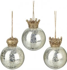 An assortment of 3 crackle effect glass baubles, featuring a golden crown decal