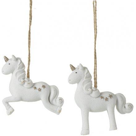 Gold Glitter Standing Unicorn Decoration Christmas Gift Gold Horn /& White Mane