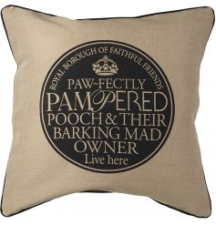 A stylish cushion with a barking mad owner stamp slogan. Inner included.