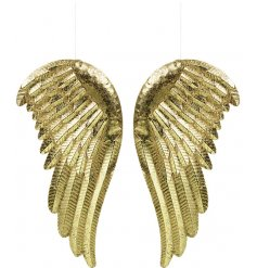 An assortment of 2 hanging golden angel wings featuring a distressed setting