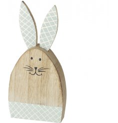 A chic wooden bunny decoration with pretty pastel ears with a decorative pattern.