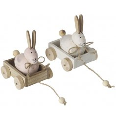 An assortment of 2 charming pastel coloured bunny decorations in carts. A unique and fabulous seasonal decoration.