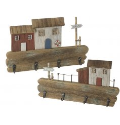 An assortment of 2 beach scene storage hooks, each with a recycled wooden look. A nostalgic interior accessory.