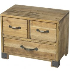 A rustic style wooden cabinet with distressed finish and antique inspired metal handles.