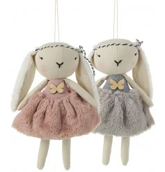 A mix of 2 beautiful plush bunny decorations with a wooden butterfly detail and hanger.