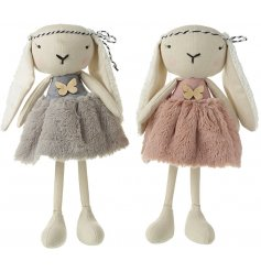 An assortment of 2 charming hippy bunny decorations with long legs, faux fur skirts and a pretty butterfly button detail