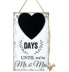 Gift newly engaged couples with this gorgeous, shabby chic style countdown plaque with a heart shaped chalkboard.