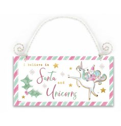 'I believe in Santa and Unicorns' scripted wooden sign