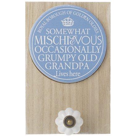 Mischievous Grandpa Plaque W/Hook