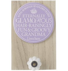 Gift your groovy grandma with this bold and beautiful sentiment plaque with hook