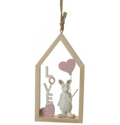 A charming wooden mouse decoration with a LOVE sign.