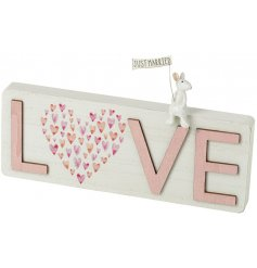 An adorable wooden LOVE sign with a pretty heart feature and adorable sitting mouse holding a just married flag.