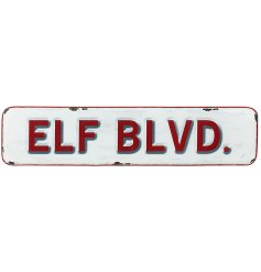 A vintage metal Elf Blvd sign. A stylish interior accessory for the season.