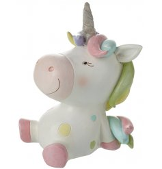 Save your pennies in this fabulous, colourful unicorn design money box.