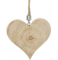 A chic chunky wooden heart decoration with a rope hanger.
