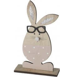 An adorable wooden rabbit decoration with polka dot trousers, a fluffy button nose, glitter ears and glasses.
