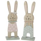 An assortment of 2 pretty pastel coloured bunny decorations with beaded necklaces.