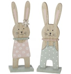 A mix of 2 charming wooden rabbit decorations in pretty pastel colours. Complete with beaded necklaces.
