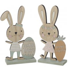 A mix of 2 charming wooden bunny decorations, each with a Happy Easter egg or carrot.