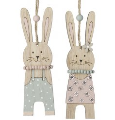An assortment of 2 adorable hanging bunny decorations in boy and girl designs. Each is complete with a beaded necklace.