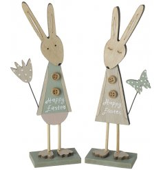 An assortment of 2 wooden bunny decorations, each with a Happy Easter sign. Complete with buttons