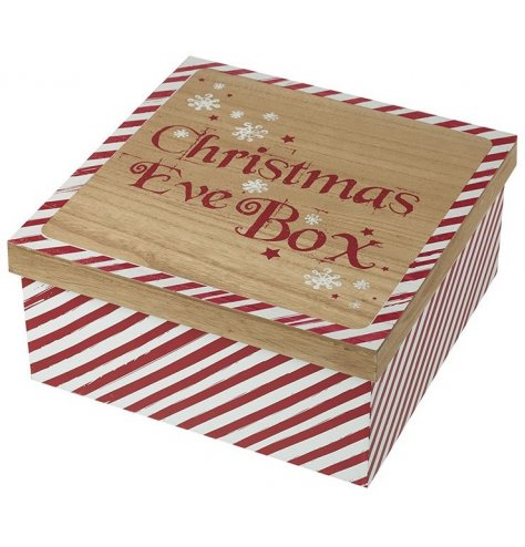 A wooden Christmas Eve box with a rustic red and white stripe candy cane design.