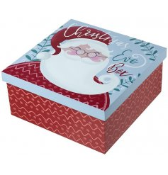 a wooden Christmas eve box with a festive santa print to finish