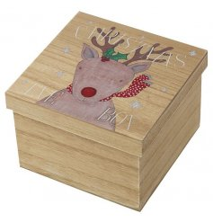 With its natural wooden setting and sweet Reindeer decal,