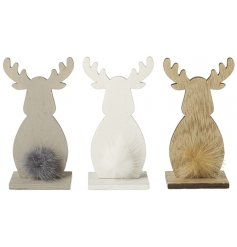 A charming mix of natural wooden reindeers each displaying their own fuzzy pompom tails
