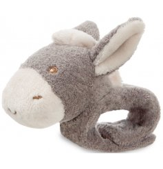 Keep little ones entertained with this adorable Dippity Donkey wrist rattle. A chic gift item and keepsake.